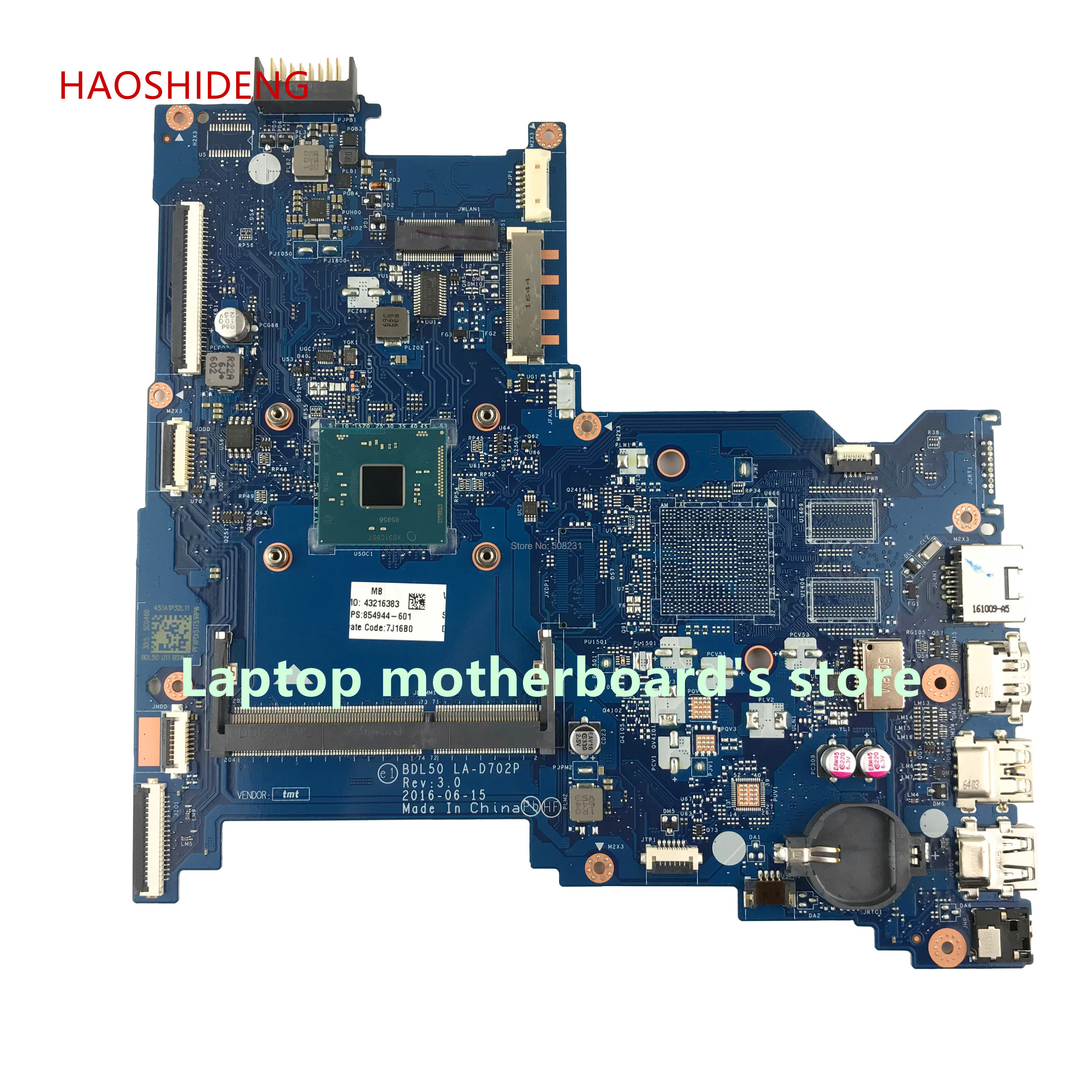 HAOSHIDENG 854944-601 854944-001 BDL50 LA-D702P for HP NOTEBOOK 15-AY 15-AC 15-AY018DS laptop mainboard with N3060 fully Tested haoshideng 854944 601 854944 001 mainboard for hp 250 g5 laptop motherboard bdl50 la d702p 854944 001 all functions fully tested