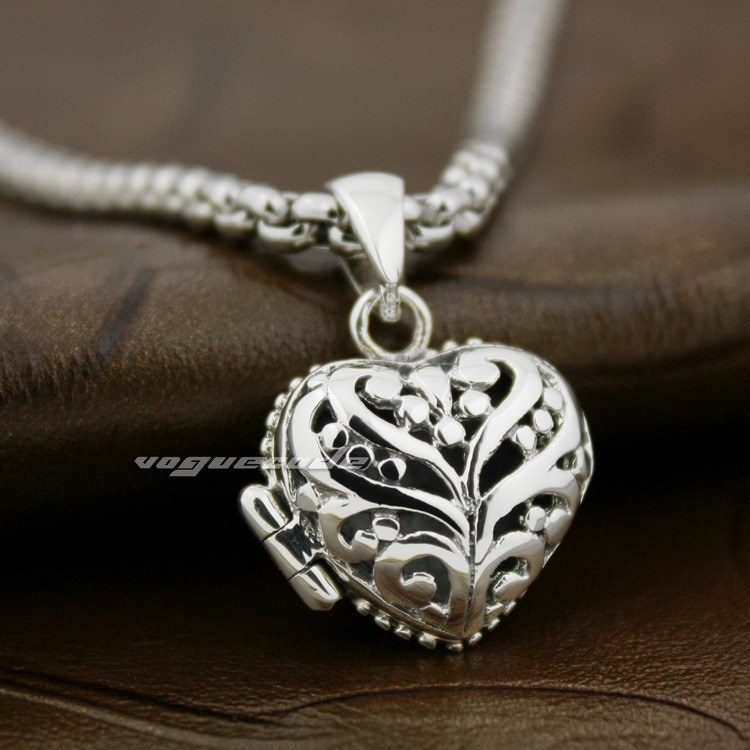 все цены на 925 Sterling Silver Filled Hollow Flower Openable Heart Beautiful Pendant 8X010A(Necklace 24inch)