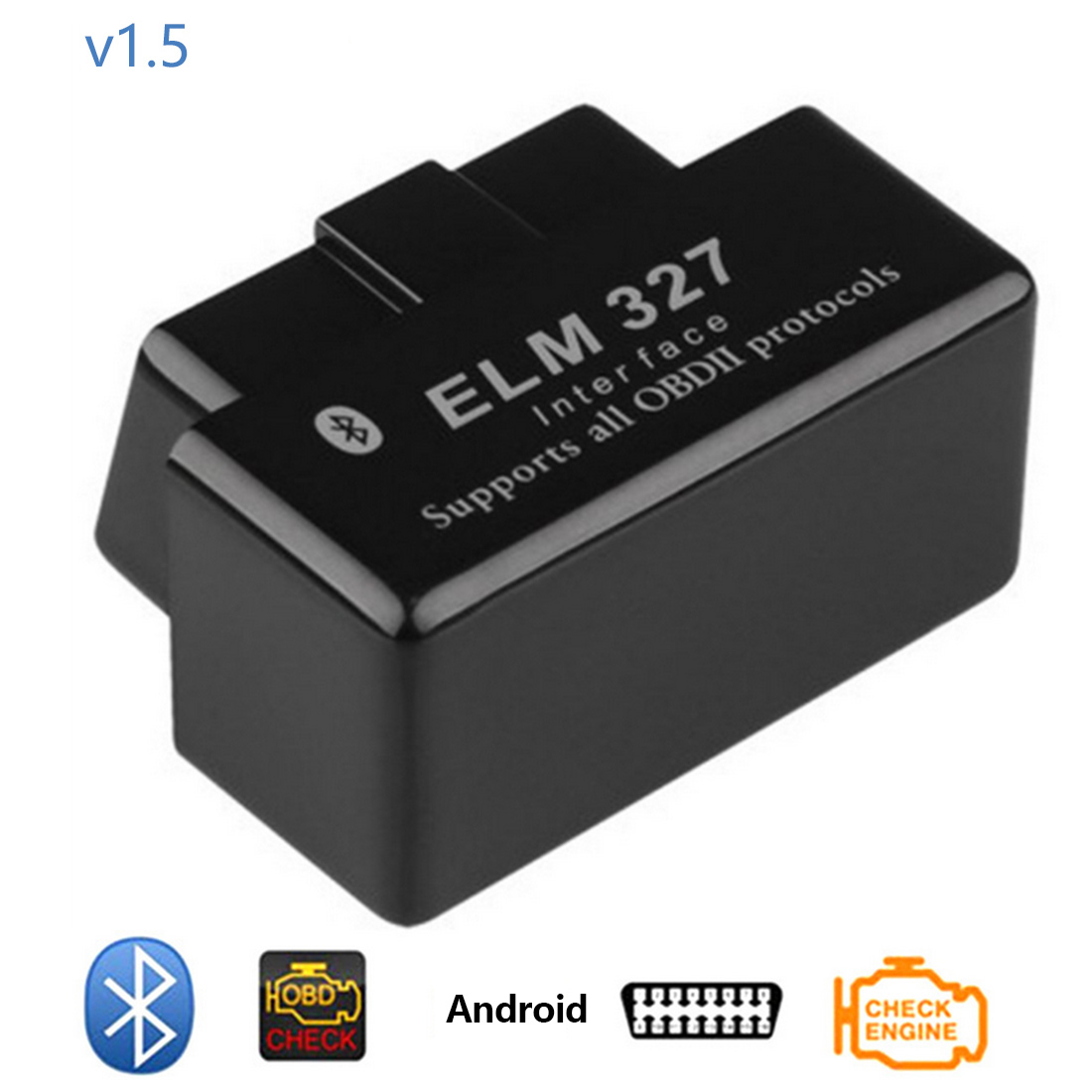 Bluetooth OBD2 V1.5 Auto Diagnostic Tool Mini Elm327 Elm <font><b>327</b></font> OBD <font><b>2</b></font> Car Diagnostic-Tool Scanner Elm-<font><b>327</b></font> OBDII tester Adapter image
