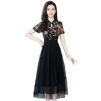 Summer Dress 2019 Women Vintage Print Improved cheongsam Mesh Dresses Elegant Short sleeve Slim A line Party Dress Vestiodos