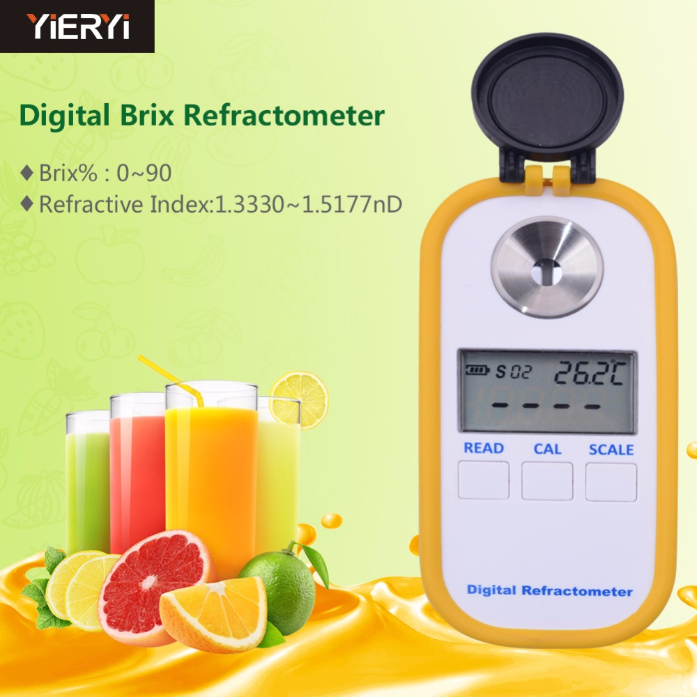 yireyi New Brand 100% DR102 Digital Brix Refractive Index Refractometer 0-90% Brix For Sugar In Wine Concentration Of La Noodle рефрактометр grand index 1 000 1 120 0 32% brix rsg 100atc brix rsg 100atc