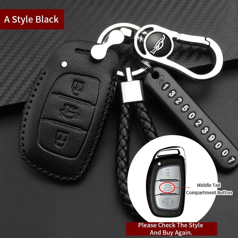 NEW Keychain Leather Car Key Fob Cover Case Shell For HYUNDAI ELANTRA  MISTRA IX35 IX25 VERNA Sonata 8-9 Key Case Car Accessories