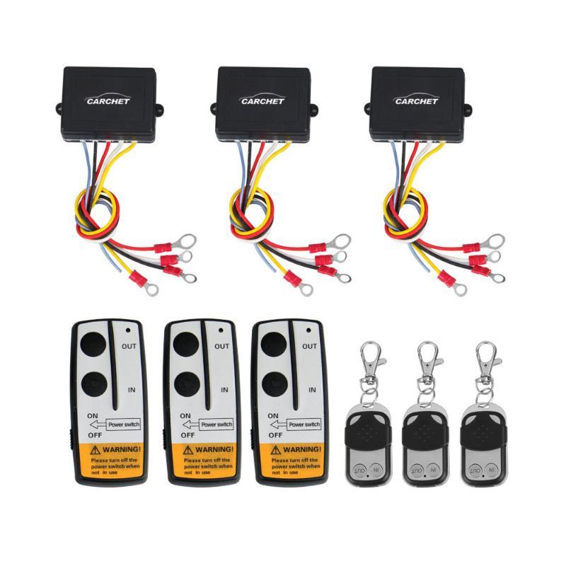 CARCHET Winch 12 v 50ft Wireless Winch Kit di Controllo Remoto 12 v Interruttore Handset per il Camion Jeep SUV ATV di Alta qualità 3 set