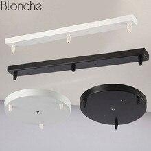 Vintage DIY base para lámpara de celdas dosel Plate candelabros accesorios de luz 3 agujero redondo/Rectangular accesorios de iluminación negro/blanco