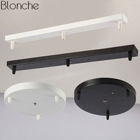 Vintage DIY Ceiling Lamp Base Canopy Plate Chandeliers Light Fittings 3 Hole Round/Rectangular Lighting Accessories Black/White