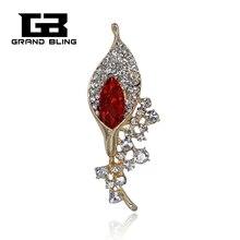 Elegant Rhinestone Alloy Collar Lily Brooch Pins for Women Fashion Jewelry