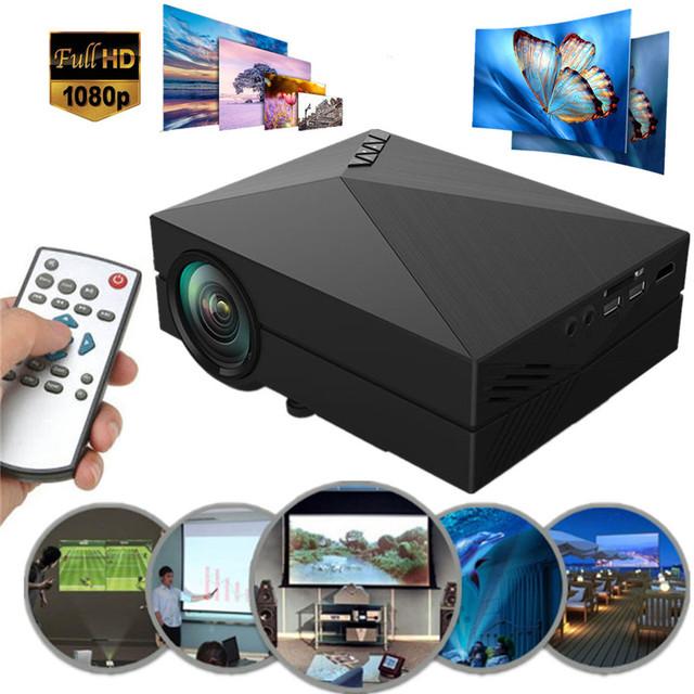 O ENVIO GRATUITO de 2017 MAIS NOVO GM60 Mini Portátil Home Theater 800x480 LED LCD Projetor 1080 P FULL HD Casa projetor