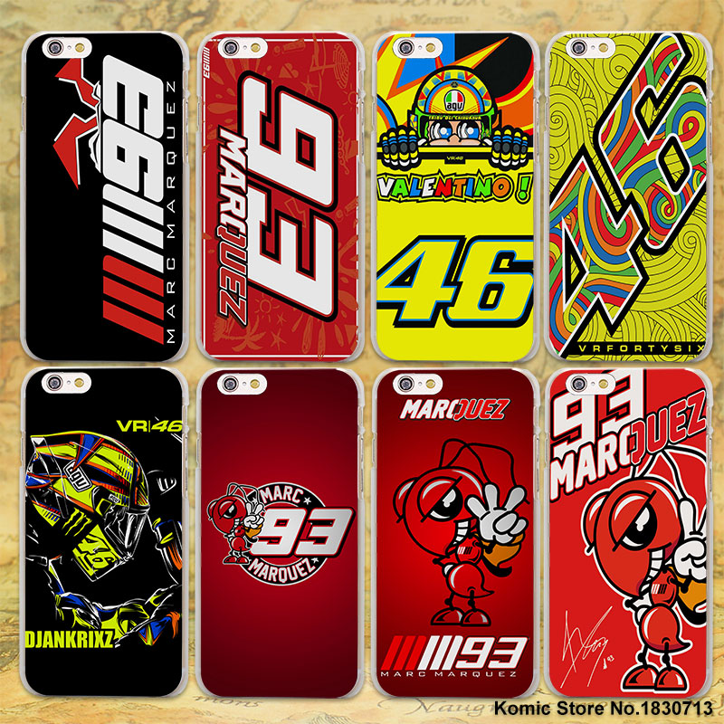 Coque Marc Marquez 93 rossi vr46 hard clear Cases cover for Apple iPhone 7 6 6s Plus SE 4s 5 5s 5c plastic phone case