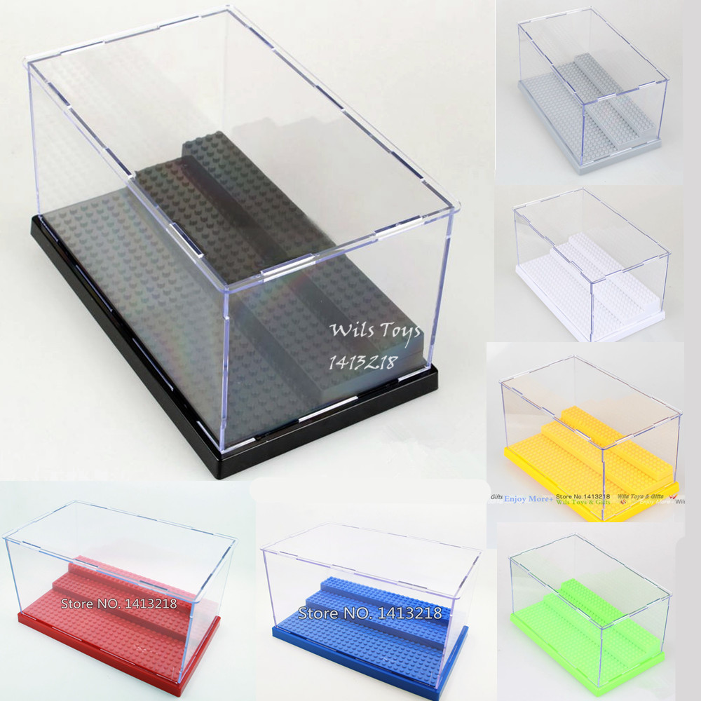 Clear Plastic Display Box Acrylic Protection Dustproof Transparent Show Case building blocks figures baseplate Toy Gift Ladder 3 steps display case box dustproof showcase for legoing blocks acrylic plastic display assembly transparent clear black base