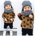 2017 spring autumn baby girl clothes bear T-shirt+Pants clothing set newborn baby boy print fox letter pattern outfit suit DY199