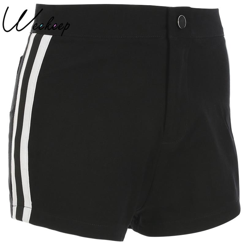 Weekeep Cotton Shorts Side-Stripped Streetwear Feminino Black Sexy High-Waist Women's