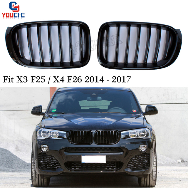 Us 73 27 9 Off X4 F26 Gloss Black Kidney Grills Front Bumper Grille Mesh For Bmw X4 F26 Suv X3 F25 Facelift 2014 2017 28i 35i In Racing Grills From