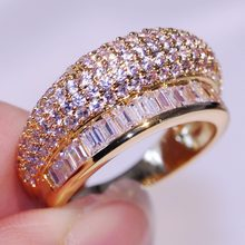 Size 6/7/8 Pave Setting New Arrival Luxury Jewelry 10kt Yellow Gold Filled Party Women Wedding Princess 5A CZ Crown Ring Gift(China)