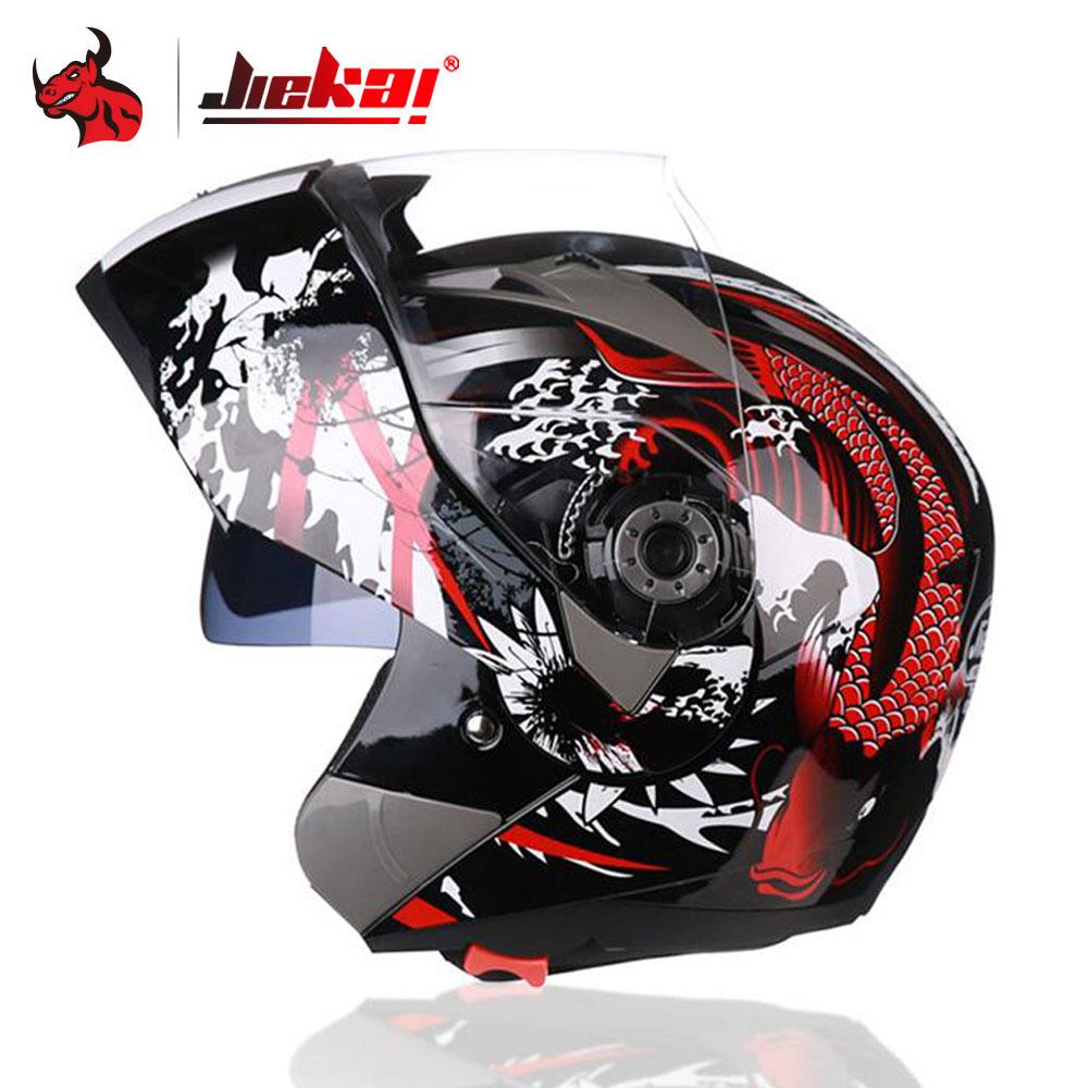 JIEKAI Casco Moto Uomini Motocross Casco Integrale Viso Moto Caschi Doppia Lente Moto Filp Up Modulare Equitazione Casco Moto