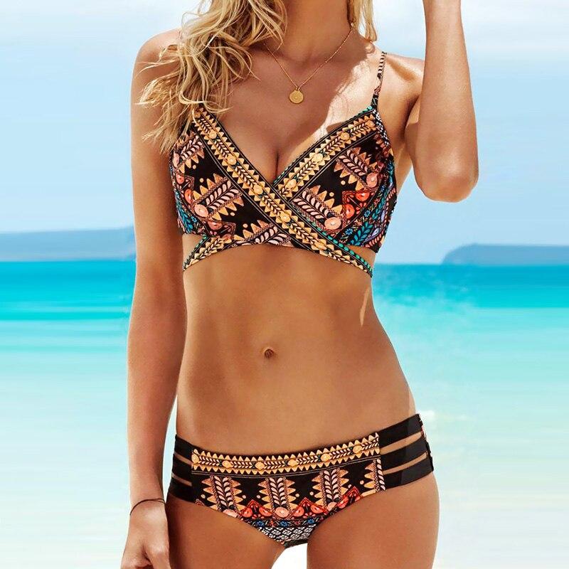 PLAVKY 2019 Sexy Cross Bandage Boho Biquini String Swim Wear Bathing Suit Swimsuit Beachwear Swimwear Women Brazilian Bikini 1