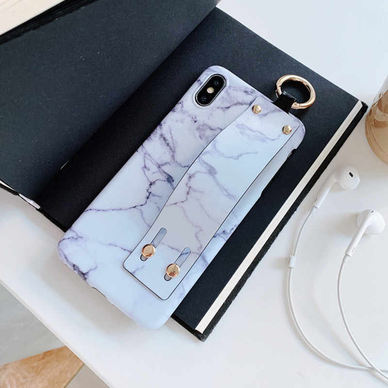 huge discount 5f070 81c09 FTAIDKJ For iPhone XR Case Marble Grip Hand Wrist Strap Phone Case For  iPhone XS Max X 10 7 6 6S 8 Plus Back Cover Soft TPU Capa
