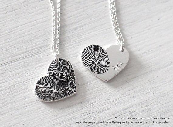 Nom personnalisé collier véritable empreinte digitale coeur colliers et pendentifs collier personnalisé cadeau de noël cadeau d'anniversaire enfants