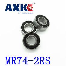 Axk Free Shipping High Quality 10pcs Mr74-2rs Abec-5 4*7*2.5 Mm Miniature Ball Bearings Mr74rs L740 free shipping 10 pcs mr117 open 7x11x2 5 mm open type mr117 miniature ball bearings l 1170 open