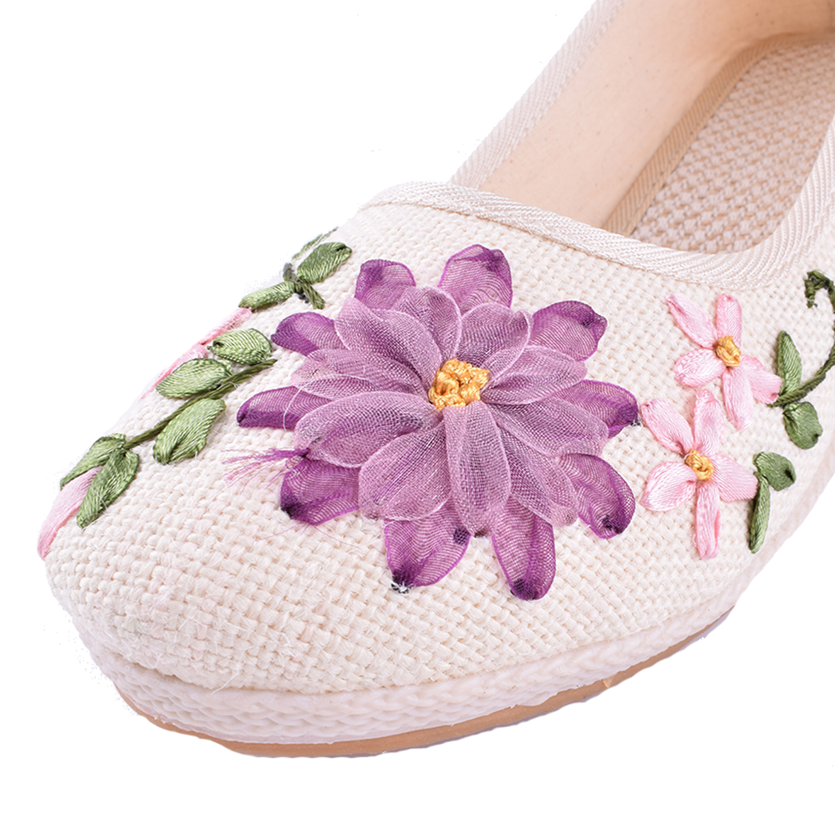 Vintage Embroidered Women Shoes Ethnic Natural Linen Shoes Slope Heel Retro Cloth Canvas Soft soled Dance Single Shoes in Women 39 s Flats from Shoes