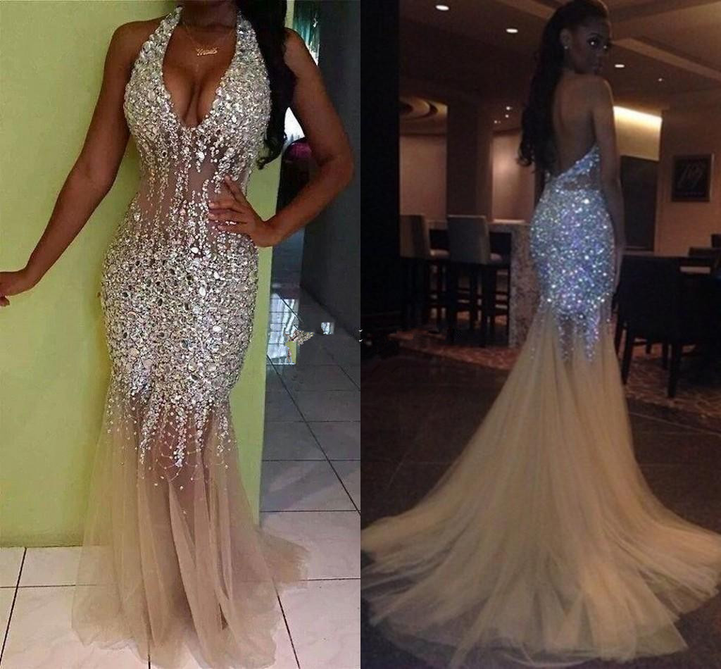 2018 Sexy Bling Mermaid   Prom     Dresses   Deep V Neck Halter Crystal Beaded Tulle See Through Backless Nude Evening Gowns Pageant