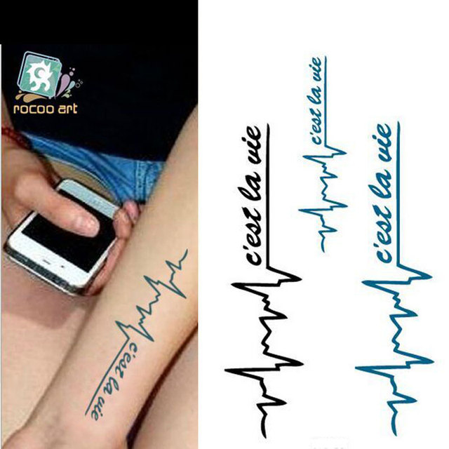 2017 3d New Design Flash Tattoo Removable Waterproof Ecg
