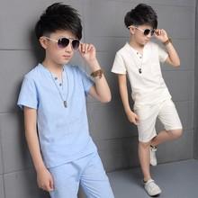 2018 Summer Boy Sport Linen Clothes Set V-Neck T-shirt+Pants Kid School Perform