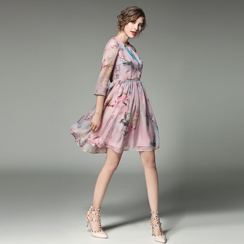 Quarter Sleeve Chiffon Dress