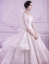 boat neck lace Wedding Dress with half sleeve 2015 new hot sexy cap button vestido de noiva casamento tiered ball gowns