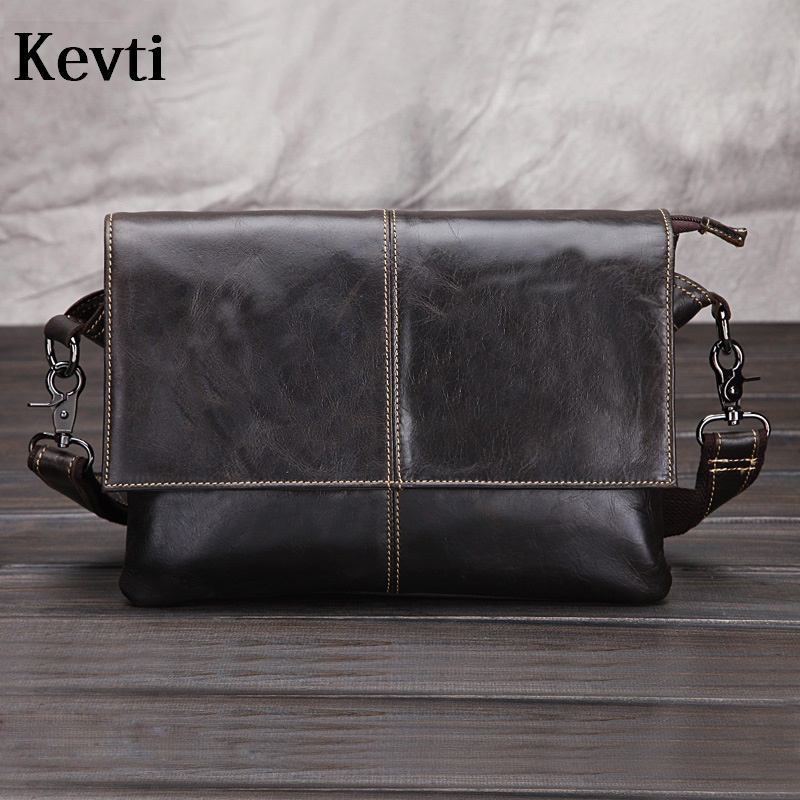 KEVTI Brand Genuine leather Men's handbag Wax oil Cowhide male shoulder BAG High quality Casual business bag cross body boy  kevti brand genuine leather women handbag high quality cowhide female shoulder bags casual crossybody bag european style hobos