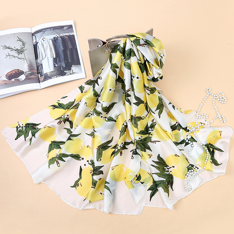 2018 New Design brand Women Scarf Fashion Lemon Print lady shawls and wraps spring and summer sunscreen beach stoles