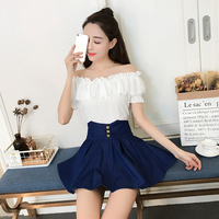 女の子半袖シフォンブラウス単語スカートの背の高いウエストジーンズ韓国ファッション2台のドレス服セットデニムスカートs-xxl