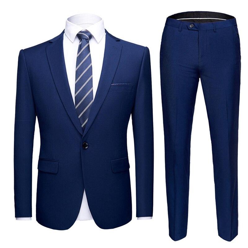 2019 Mens Suits Set Royal Blue Formal Prom Suits with Pants Party Wedding Tuxedo Suit Men Slim Fit Business Casual Suit Male 6XL