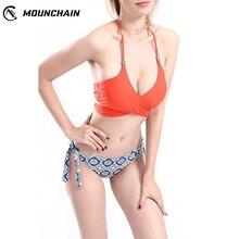 Hot Sale Female Bathing Set Straps Lacing Color Matching Printing Bikini Bra Shorts Bright Swimming Suit