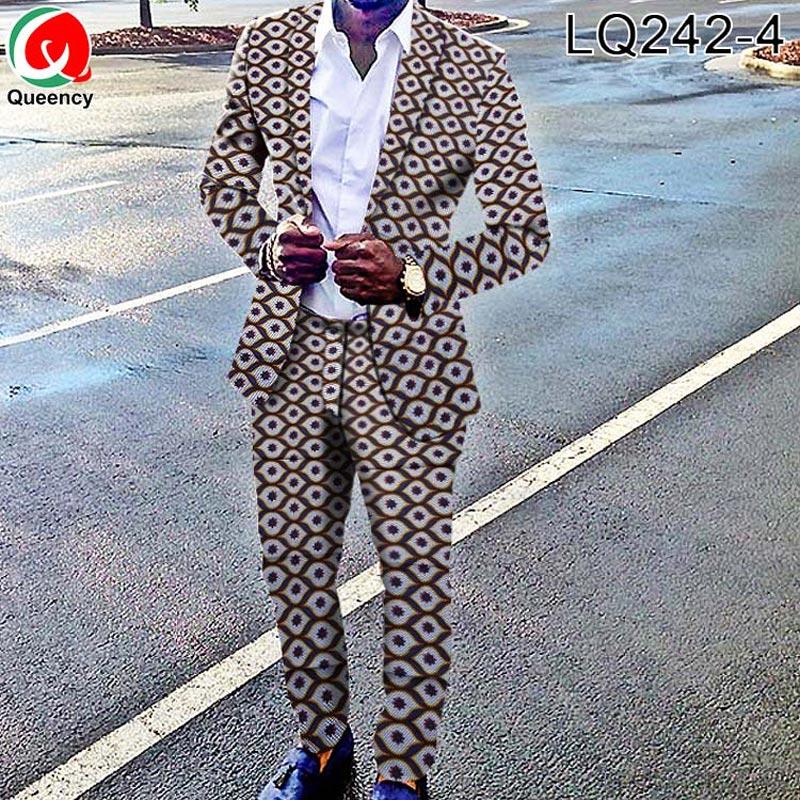 Queency Ankara Africano Costume Vestito di Stampa T Shirt In Cera Africano Africano Dei Pantaloni Degli Uomini di Vestito A Due Pezzi LQ242-in Tessuto da Casa e giardino su  Gruppo 3