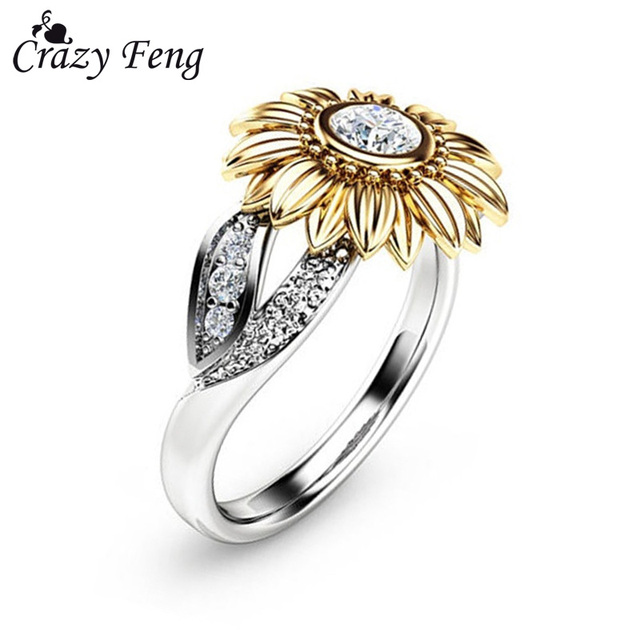 CZ Stone Ring Jewelry Bague Femme Silver Color Cute Gold Sunflower Crystal Weddi