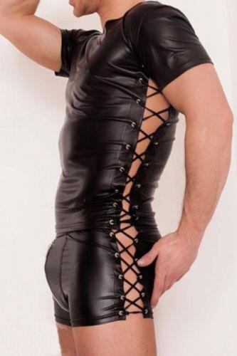 2018 New Sexy Men's Black Bandage Leather Short Sleeve PU Undershirt Tank Top Vest Waistcoat Underwear