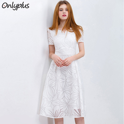 ONLY PLUS S-XXL Women White Dress Short Sleeve A-Line Midi Party Dress Casual Elegant Knee Length Dresses 2018