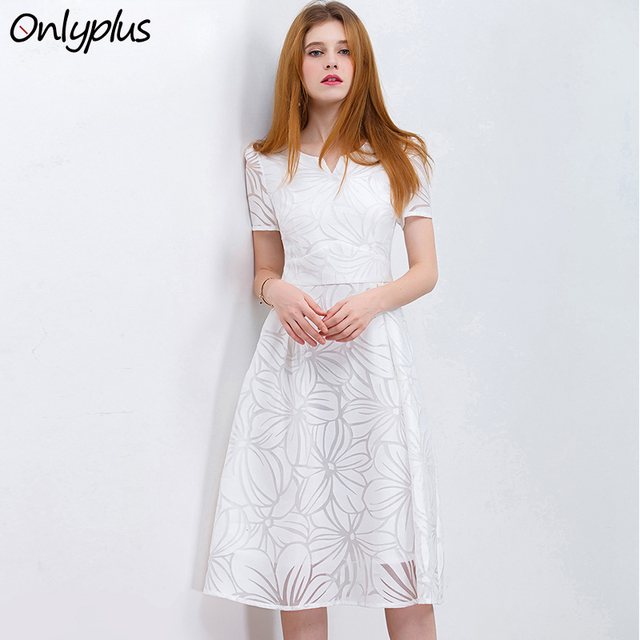 eeb937cb5f592 ONLY PLUS S XXL Women White Dress Short Sleeve A Line Midi Party ...