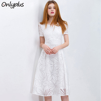 ONLY PLUS S XXL Women White Dress Short Sleeve A Line Midi Party Dress Casual Elegant Knee Length Dresses 2018