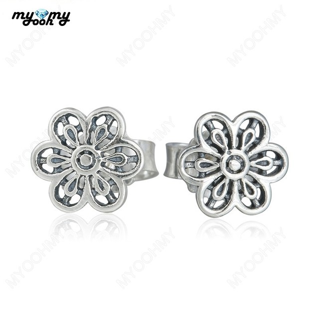 5c4397f31 Authentic 925 Sterling Silver Compatible with Pandora Style Floral Daisy  Lace Flower Stud Earrings New 2016