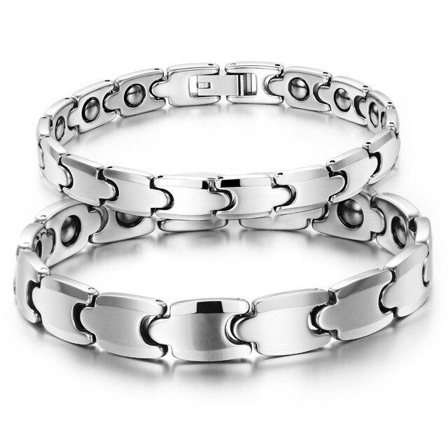 2016 New Jewelry Tungsten Steel Couple Bracelet Fashion Energy Balance Health Care Magnet Stone Bracelets For Women Men