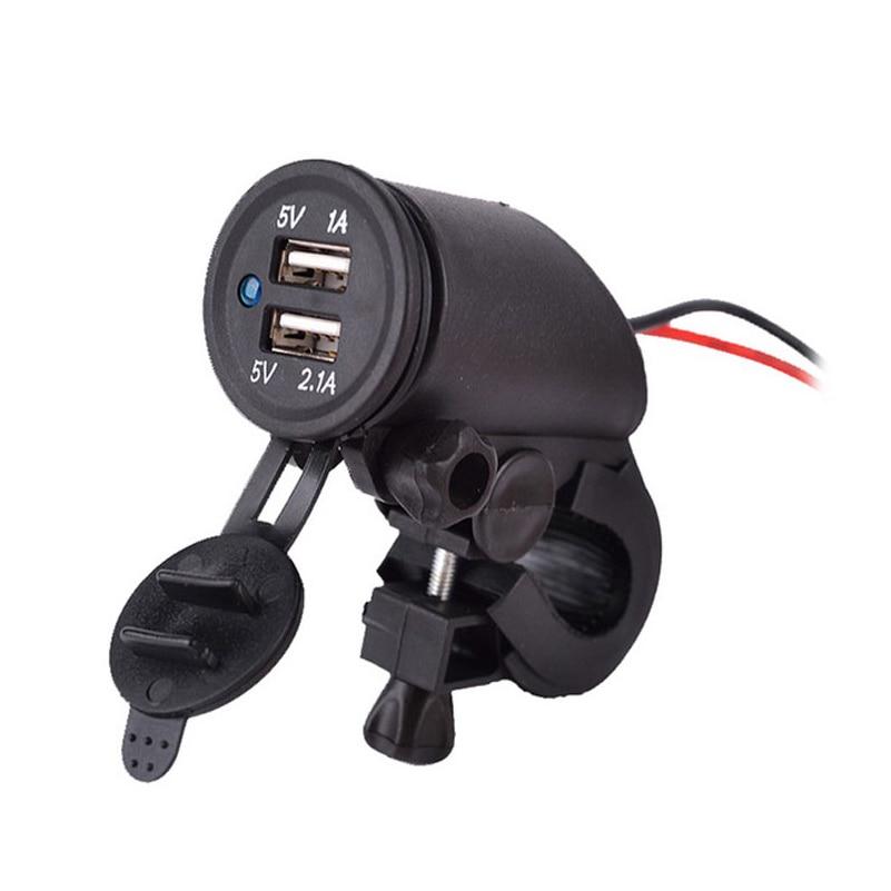 Ny 12 ~ 24V Vattentät Motorcykel Dual USB Laddare Cigarettändare Strömkontakt med handtagstang Mount 1.5M Kabel Gratis frakt