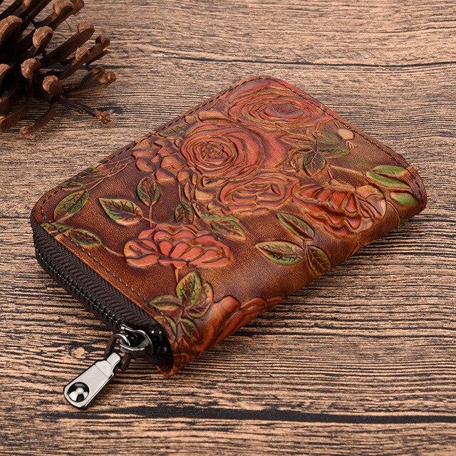 Genuine Leather Women Short Wallet Flower Pattern Money Purse Coin Pocket Female Embossed Zipper Bifold Credit Card Holder New