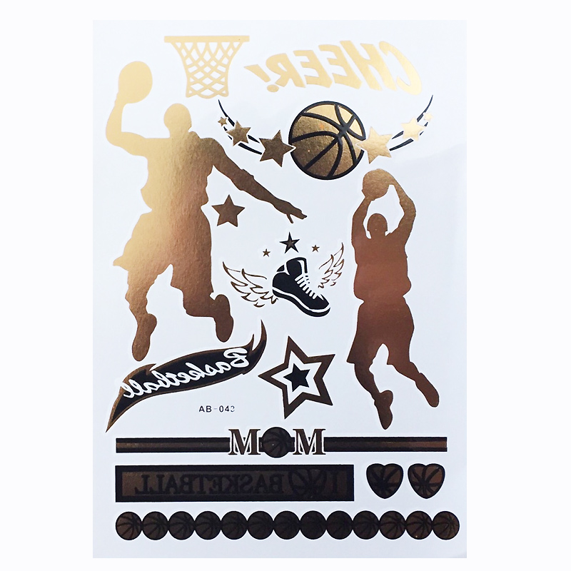 1pc Flash Metallic Gold Silver Men Women Henna Body Art Basketball Character Movement Tattoo Desig Tattoo Design Tattoo Sticker Stickers Race Sticker Motorcycledesign Band Stickers Aliexpress