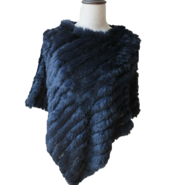 6949235a9 US $29.99 |Wraps Lady's fashion Genuine Real Rabbit Fur Knitted Poncho  Women Winter Shawl Coat Cape Dark Blue -in Women's Scarves from Apparel ...