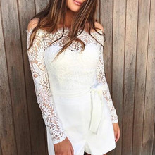 Women S Lace Strapless Jumpsuit Summer Bodycon Playsuit Clubwear Beach Party Short Romper Suit 2018 Sexy Mesh Overalls
