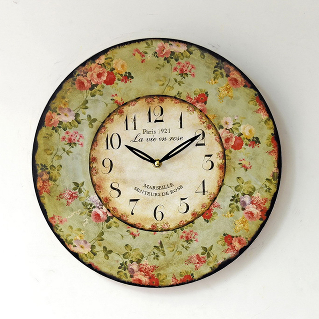 Wooden Wall Clocks Vintage Rustic Shabby Chic Mute Rimless Round Reloj De Pared Retro Art Floral Wall Clock Cafe Decoration