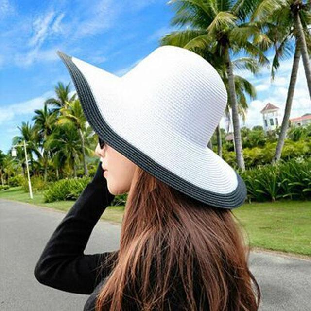2015 Fashion Seaside Sun Visor Hat Female Summer Sun Hats For Women large Brimmed Straw Sun