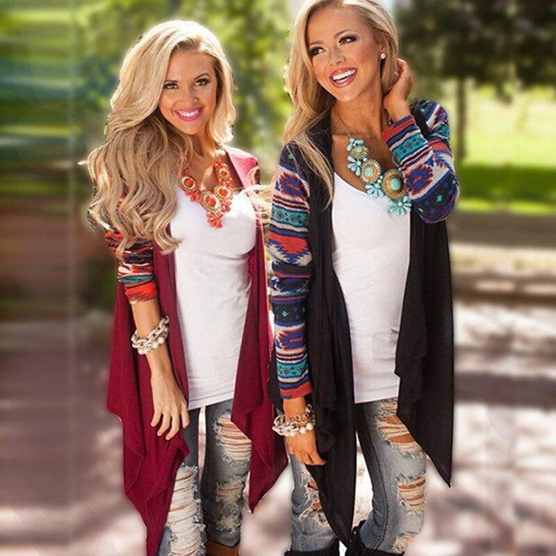Cardigan Women Knitted Sweater Fashion Aztec Long Sleeve Striped