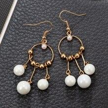 ФОТО yikln trendy white pearl tassel earrings for women girl geometric long drop dangle earring jewelry yg5930